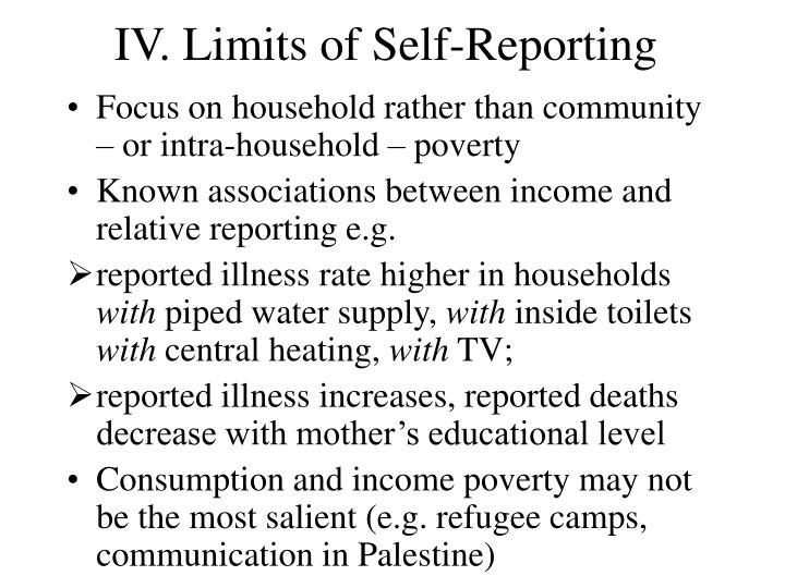 IV. Limits of Self-Reporting