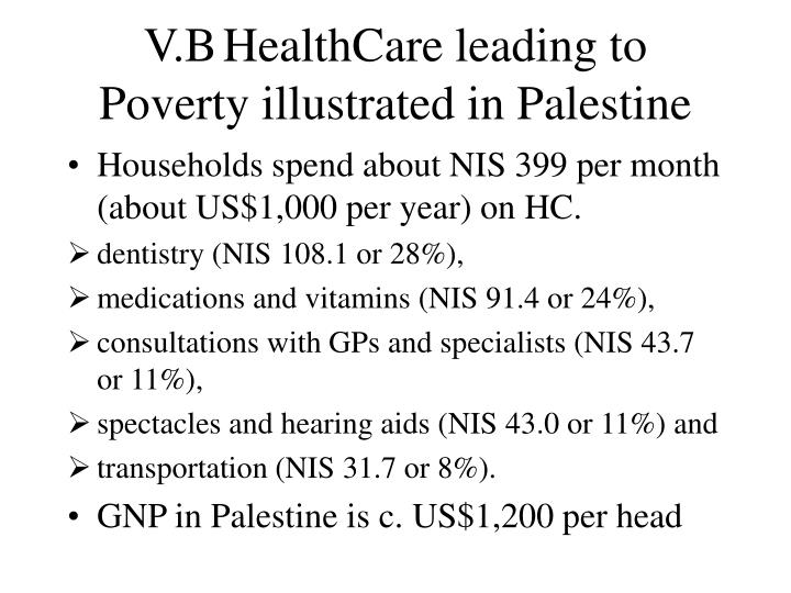 V.B	HealthCare leading to Poverty illustrated in Palestine