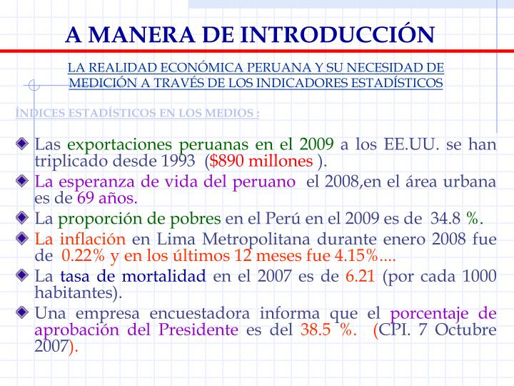 A MANERA DE INTRODUCCIÓN