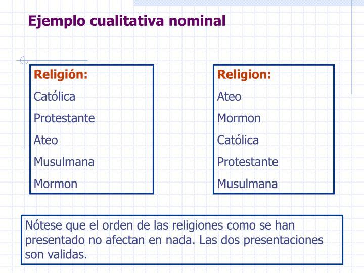 Ejemplo cualitativa nominal