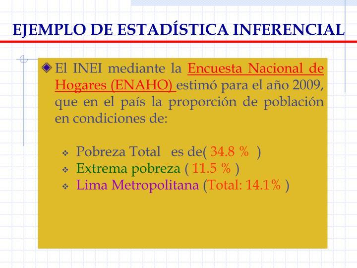 EJEMPLO DE ESTADÍSTICA INFERENCIAL