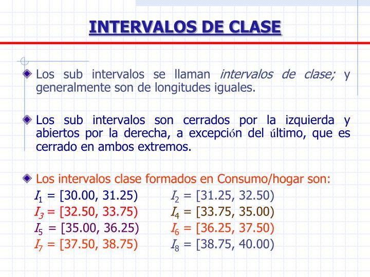 INTERVALOS DE CLASE