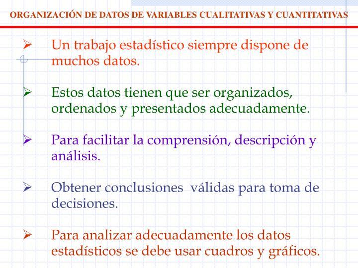 ORGANIZACIÓN DE DATOS DE VARIABLES CUALITATIVAS Y CUANTITATIVAS