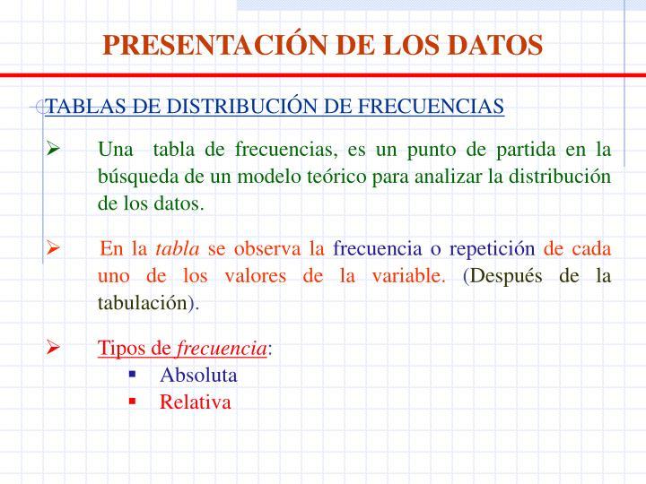 PRESENTACIÓN DE LOS DATOS
