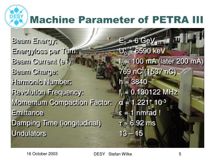 Machine Parameter of PETRA III