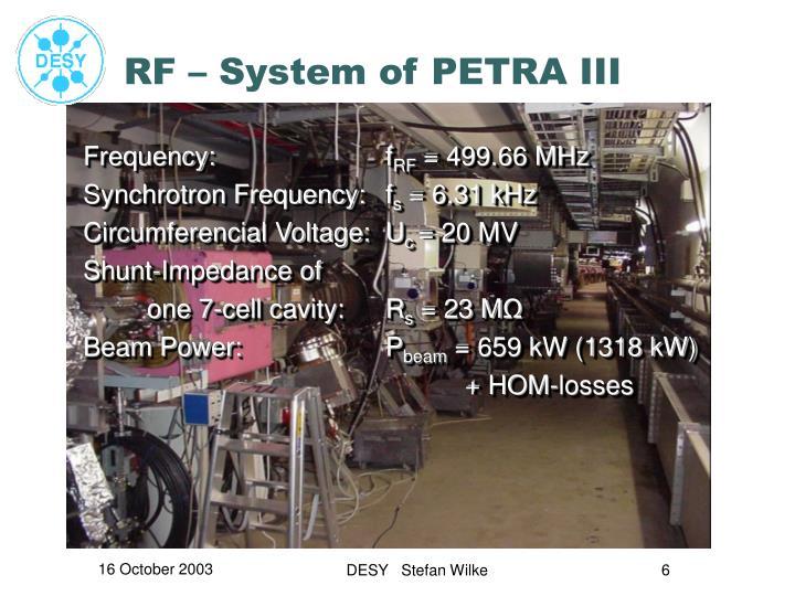 RF – System of PETRA III