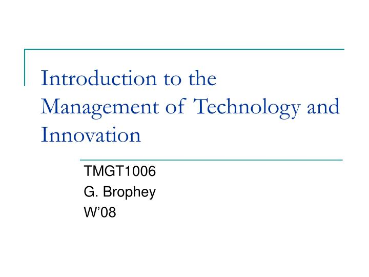 the management of technological innovation benetton The impact of technology and innovation (technovation) in developing countries: the impact of technology innovation and technology management is an.