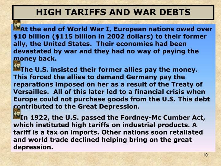 HIGH TARIFFS AND WAR DEBTS