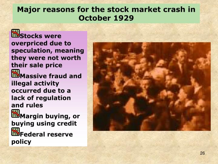 Major reasons for the stock market crash in October 1929