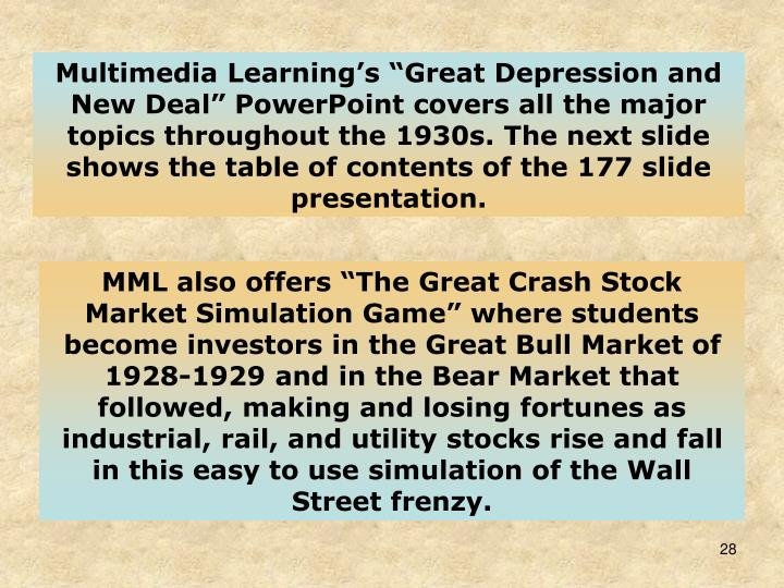 "Multimedia Learning's ""Great Depression and New Deal"" PowerPoint covers all the major topics throughout the 1930s. The next slide shows the table of contents of the 177 slide presentation."