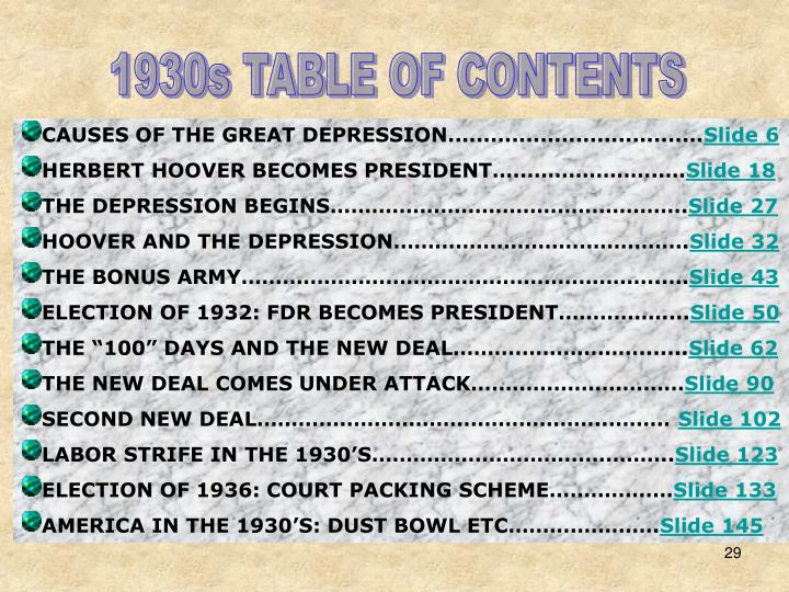 1930s TABLE OF CONTENTS
