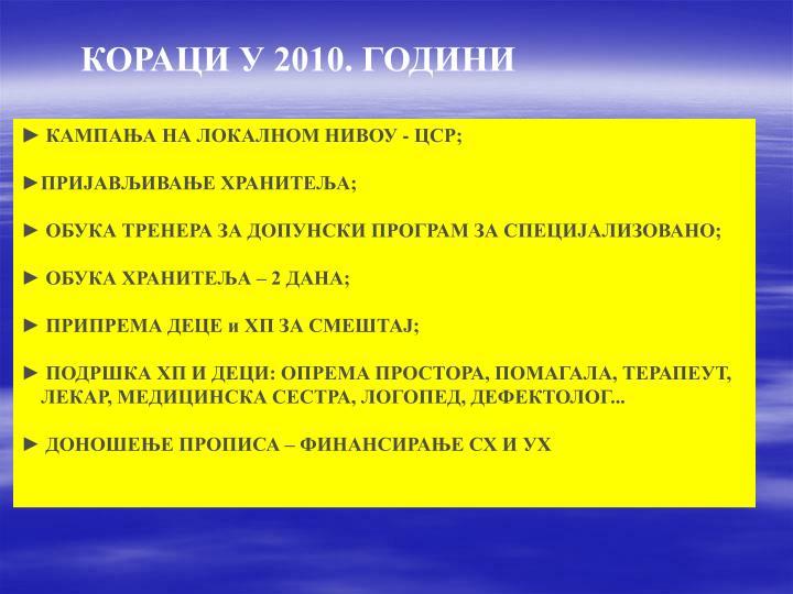 КОРАЦИ У 2010. ГОДИНИ