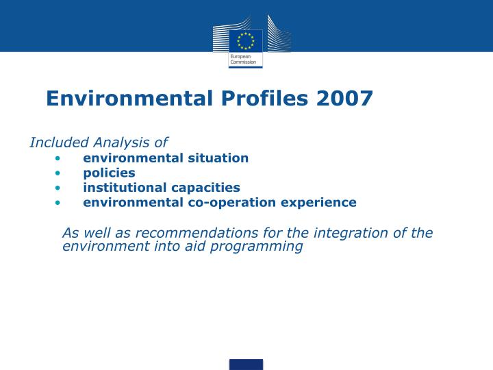 Environmental profiles 2007