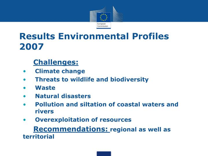 Results Environmental Profiles 2007