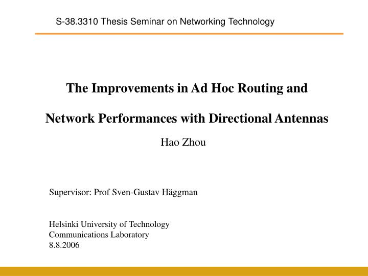 S-38.3310 Thesis Seminar on Networking Technology
