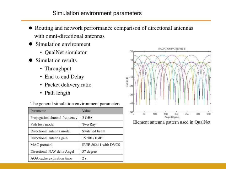 Simulation environment parameters