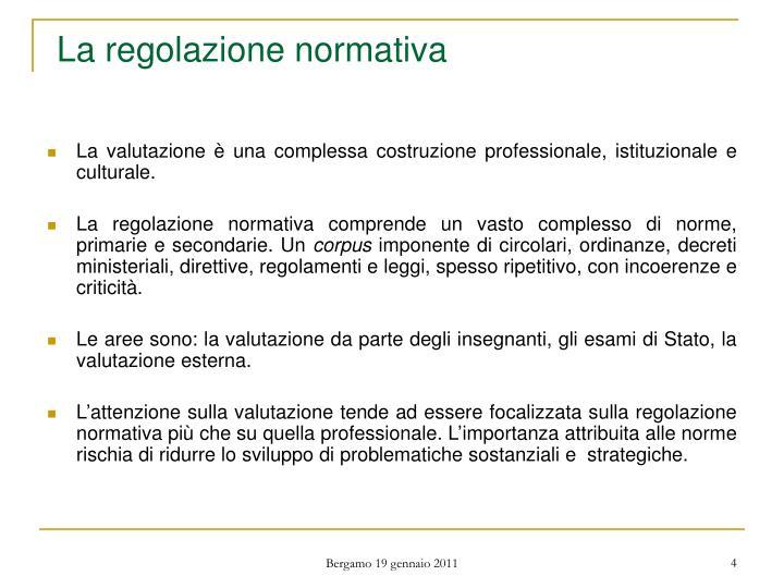 La regolazione normativa