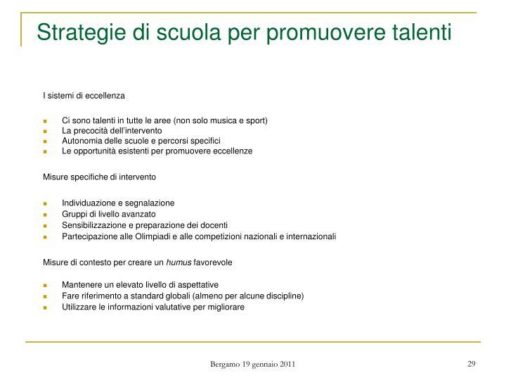 Strategie di scuola per promuovere talenti