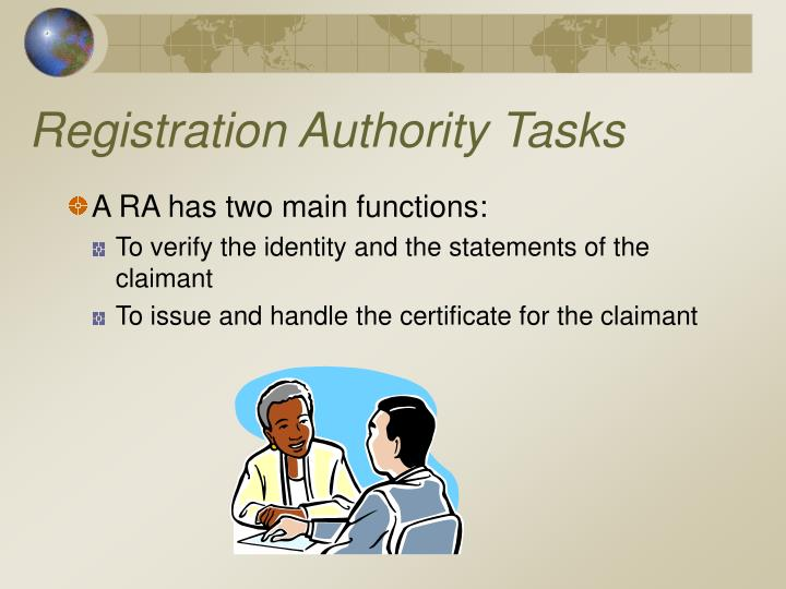 Registration Authority Tasks