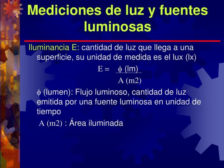 Mediciones de luz y fuentes luminosas