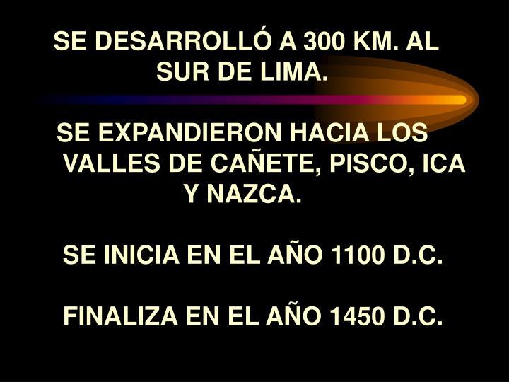 SE DESARROLLÓ A 300 KM. AL SUR DE LIMA.