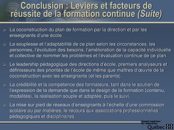 Conclusion: Leviers et facteurs de réussite de la formation continue