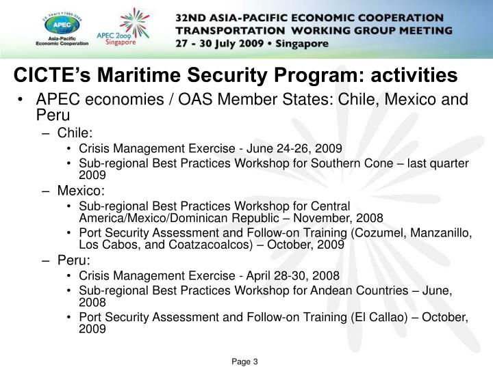 Cicte s maritime security program activities