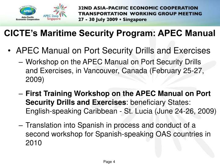 CICTE's Maritime Security Program: APEC Manual