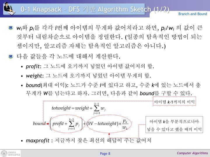0-1 Knapsack – DFS