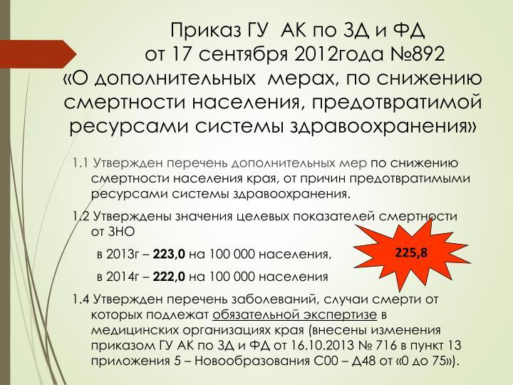 Приказ ГУ  АК по ЗД и ФД
