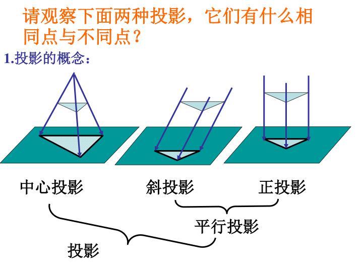 请观察下面两种投影,它们有什么相同点与不同点?