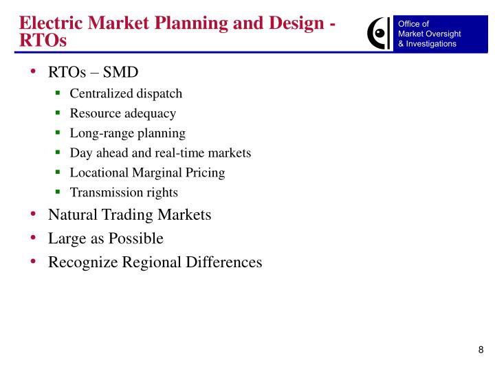 Electric Market Planning and Design - RTOs