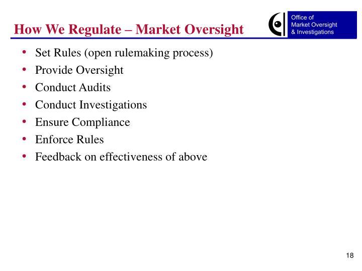 How We Regulate – Market Oversight