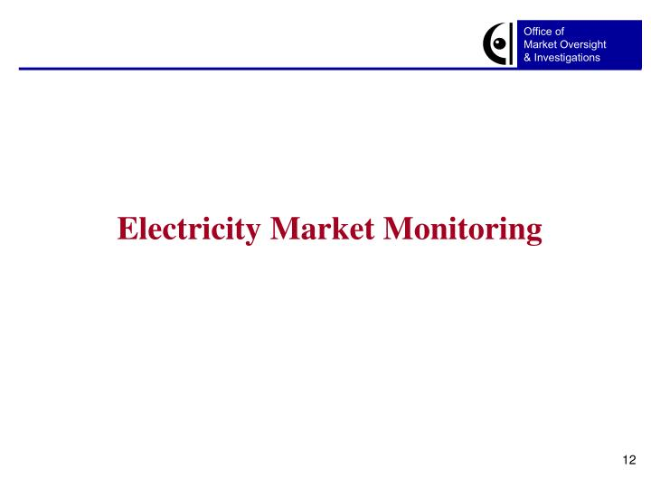Electricity Market Monitoring