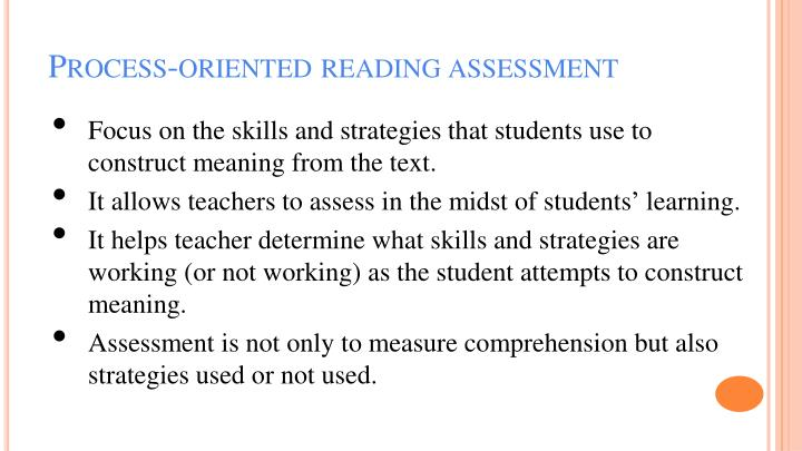 Process-oriented reading assessment