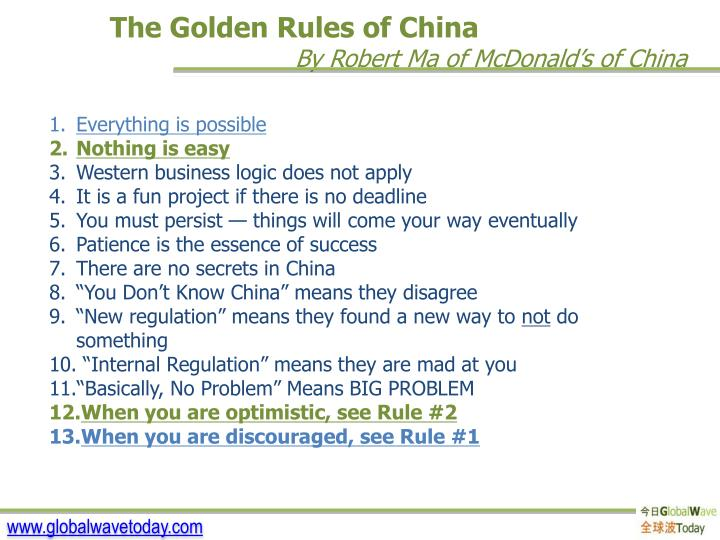The Golden Rules of China