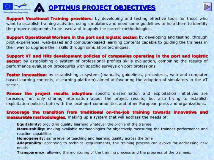 OPTIMUS PROJECT OBJECTIVES