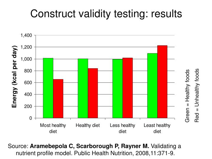Construct validity testing: results