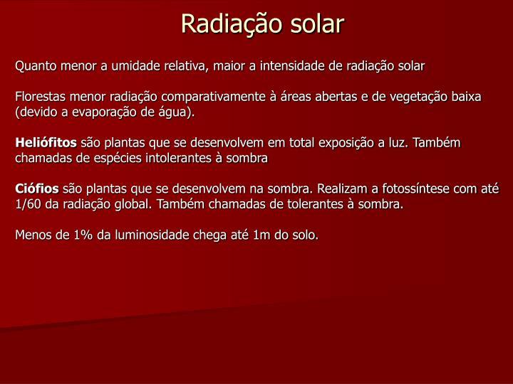 Quanto menor a umidade relativa, maior a intensidade de radiação solar