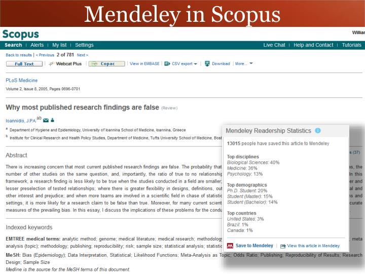 Mendeley in Scopus