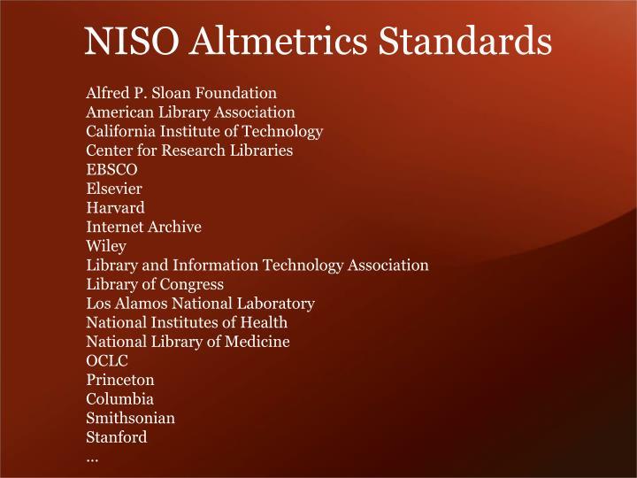 NISO Altmetrics Standards