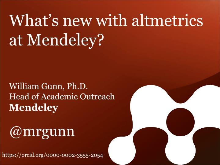 What's new with altmetrics at Mendeley?