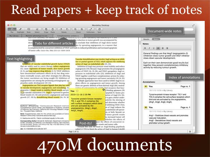 Read papers + keep track of notes