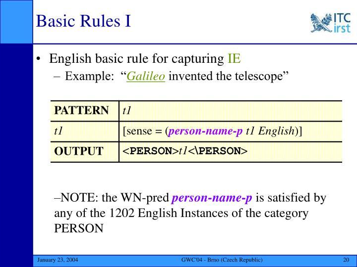 Basic Rules I