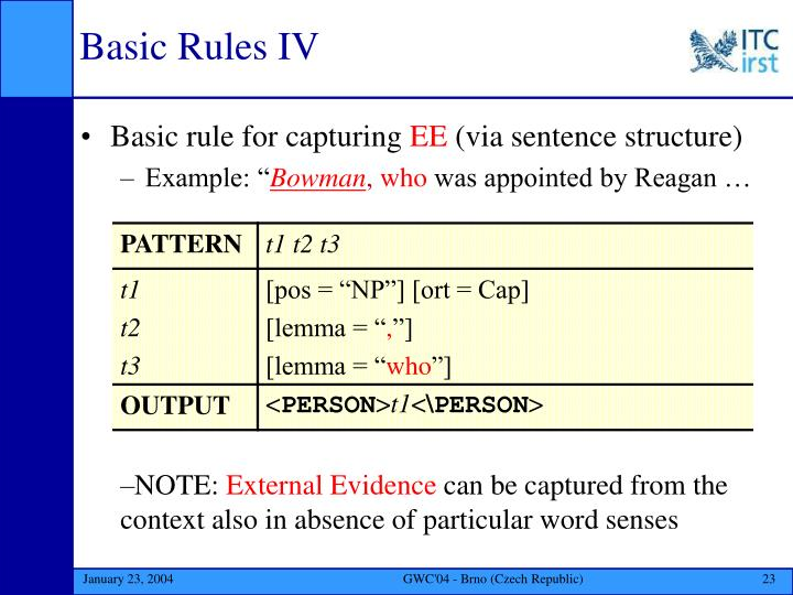 Basic Rules IV