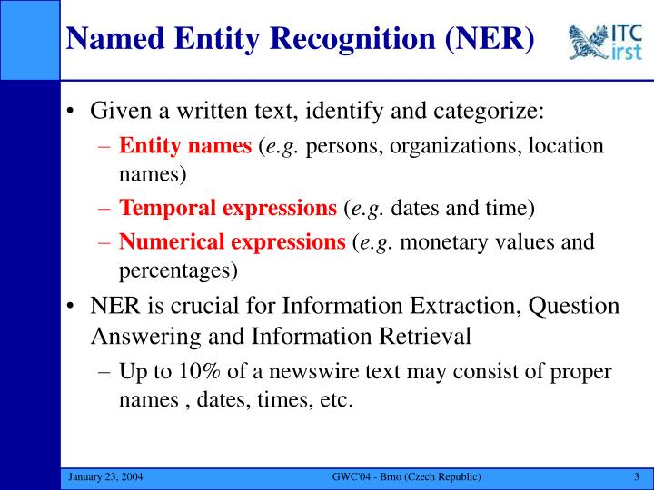 Named entity recognition ner