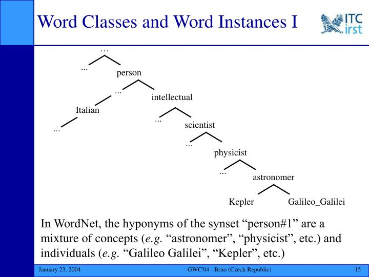 Word Classes and Word Instances I