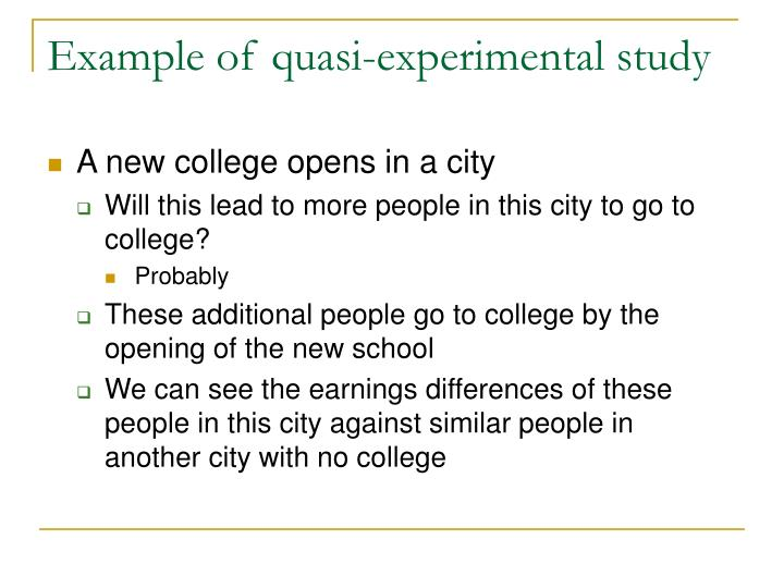 Example of quasi-experimental study
