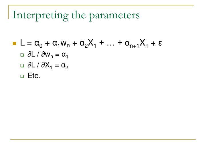 Interpreting the parameters