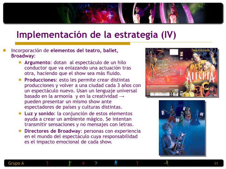 Implementación de la estrategia (IV)